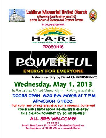 Poster for HARE movie night featuring Powerful: Energy for Everyone