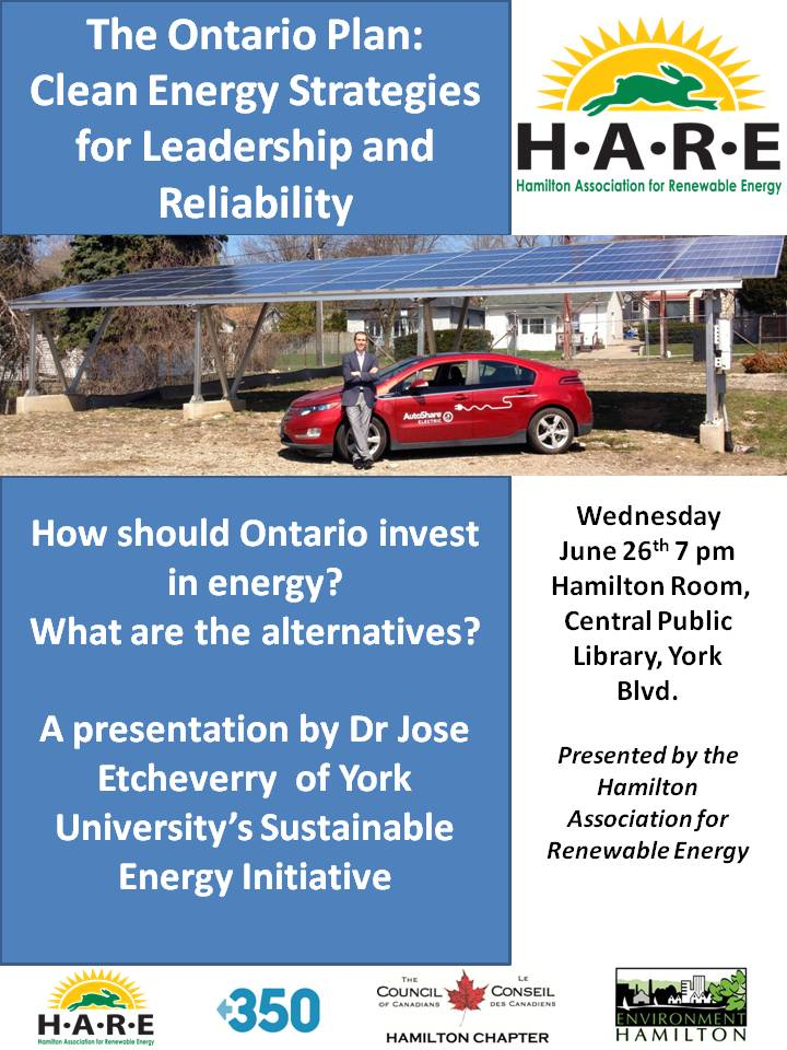 Poster for the presentation by Jose Etcheverry on June26, 2013 on energy investment in Ontario