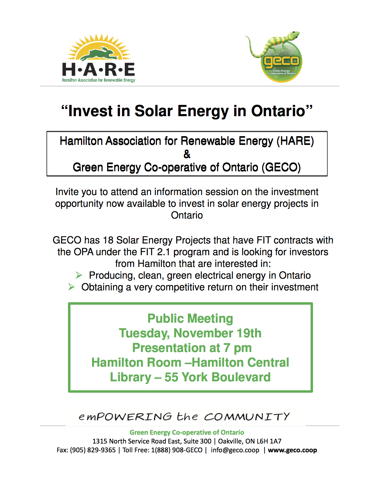 Invitation to Hamilton Public Meeting for HARE & GECO Investment Presentation Nov 19 2013